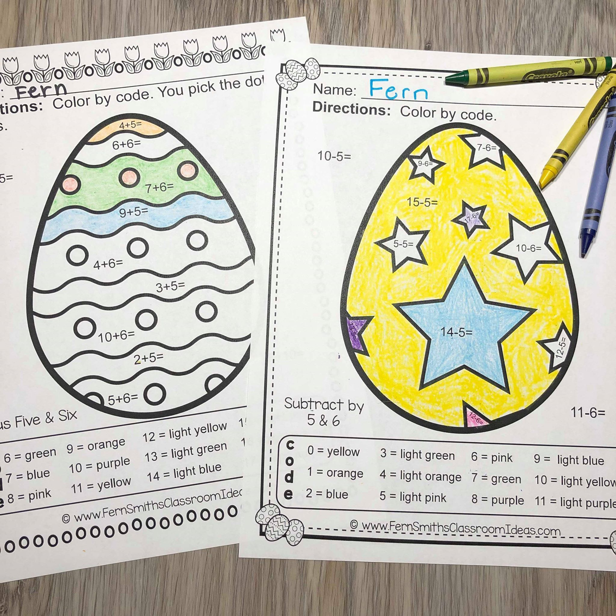 Easter Color By Number Addition And Subtraction Bundle