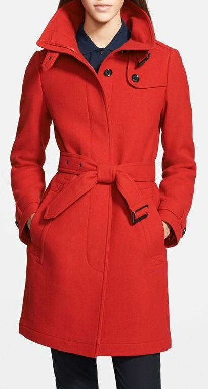 Classic wool trench in red