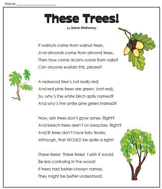 get ready for earth day students will enjoy this cute poem about different species of trees. Black Bedroom Furniture Sets. Home Design Ideas