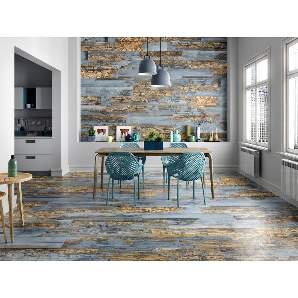 Duke Brown Blue Wood Plank Porcelain Tile 9 X 48 100434497