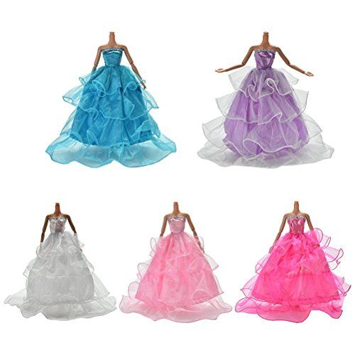 7 Fashion Wedding Dress Party Gown Clothes Outfits For s Dolls Girls GiftH