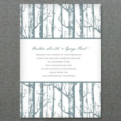 Invitation Template with Winter Birch Trees | Wedding, Trees and ...