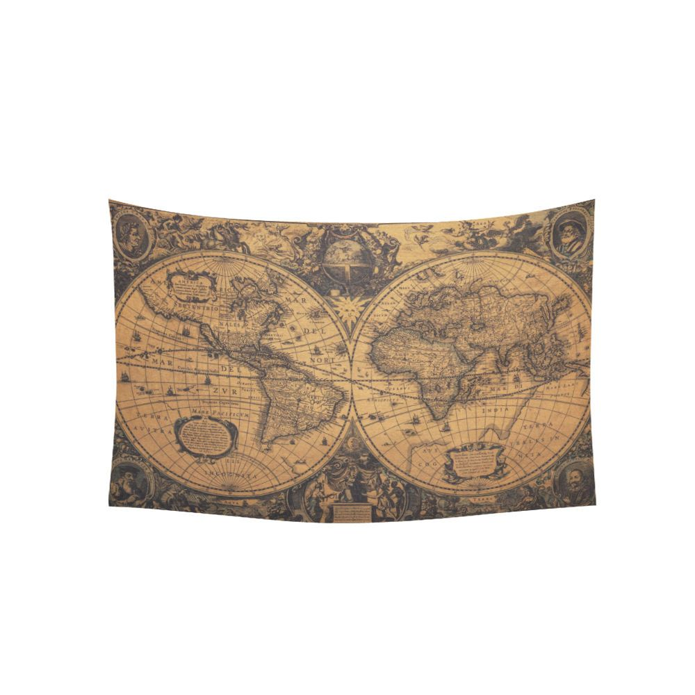 Vintage Old World Map In 1720S Nostalgic Style Art Wall Tapestry