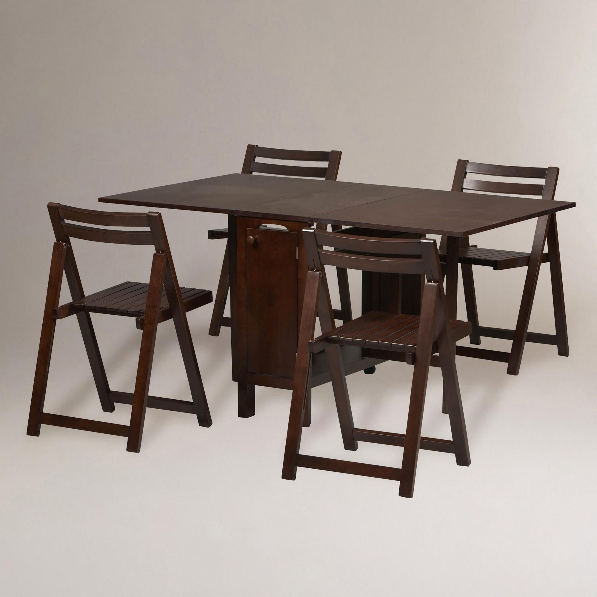 Folding dining table and chair set  Wenge Lawson Space Saver Table u Chair Set  World Market   For