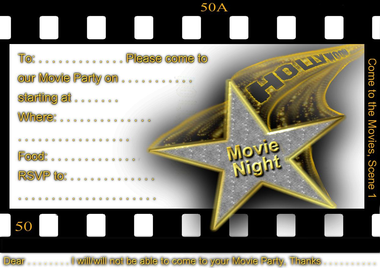 Free Printable gratuation Movie Themed Invitations | Printable Movie ...