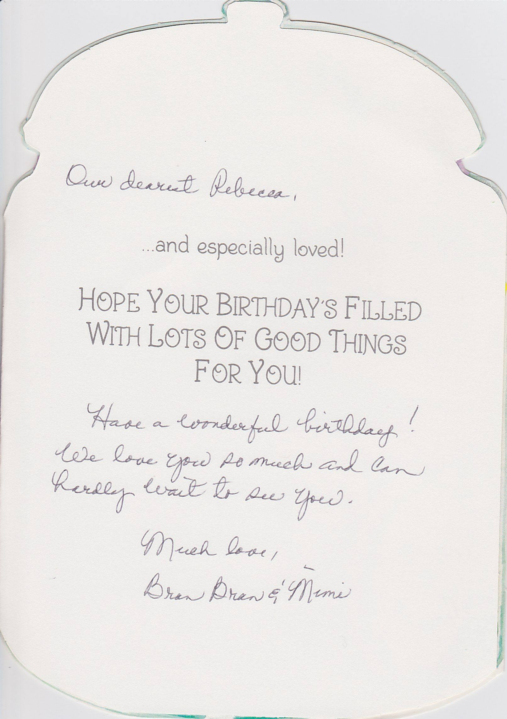 Happy Birthday Card from Mimi and Bran Bran for Rebecca. (II