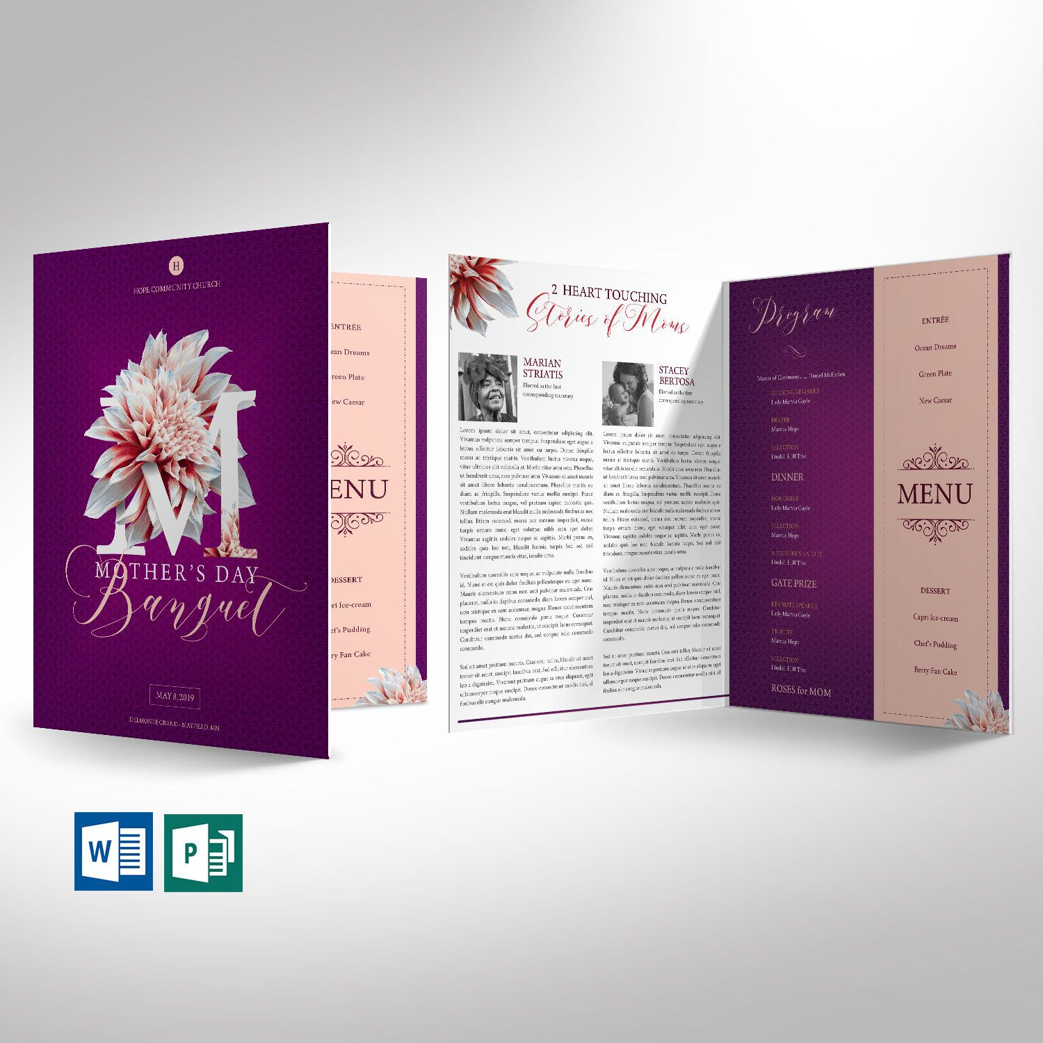 Mothers Day Banquet Program Word Publisher Template Large