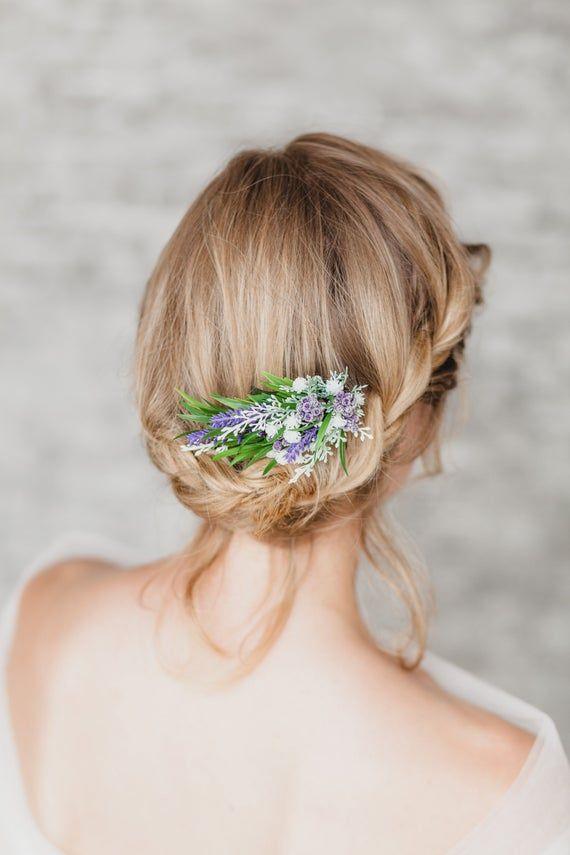 Bridal Hair Comb Purple Flower Comb Rustic Wedding Hair Comb Lavender Headpiece Bridal Comb Wedding Hair Piece Lavender Flower Hair Comb #purpleweddingflowers