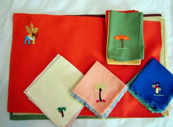 Vintage Embroidered Linen Napkins & Placemats-Tropical Theme-Set of 27-1950s