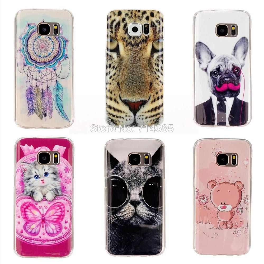 SM-G935 IMD TPU Luxury Soft Silicon Protective Phone Case for Samsung Galaxy S7 Edge Cover Skin Cat Bear Dog Tiger