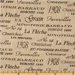 Vintage French Feedsack Duboise  Script Jacquard Chocolate