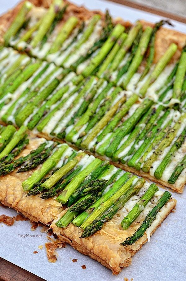 Asparagus and Gruyere Tart Store-bought puff pastry makes this simple, 3 ingredient Asparagus and Gruyere Tart a snap to make! Serve as an appetizer or side, it's impressive and sophisticated enough for any dinner, brunch or party. Recipe video + printable recipe at