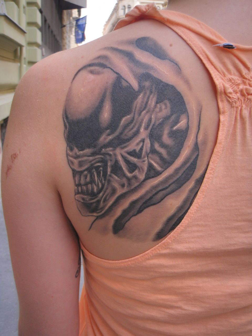 Hr giger tattoo designs - H R Giger Alien Tattoo Done By Tam S K Ves Bpink Budapest Hungary