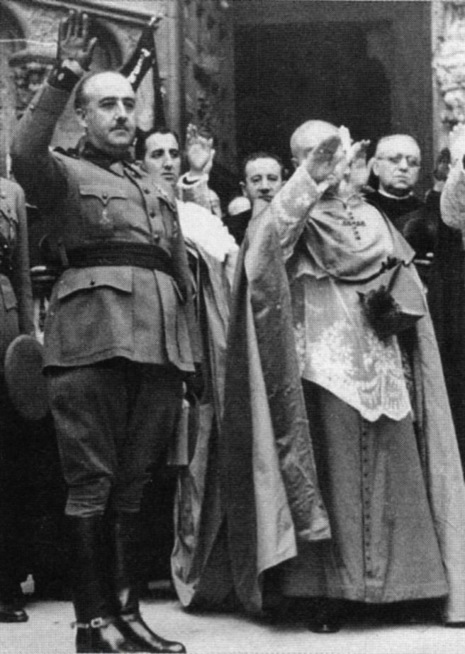 The Spanish Catholic Church demonstrating its support of the Falangist (Fascist)  General Francisco Franco in his overthrow of the democratically elected  Spanish Republican government - November 1938