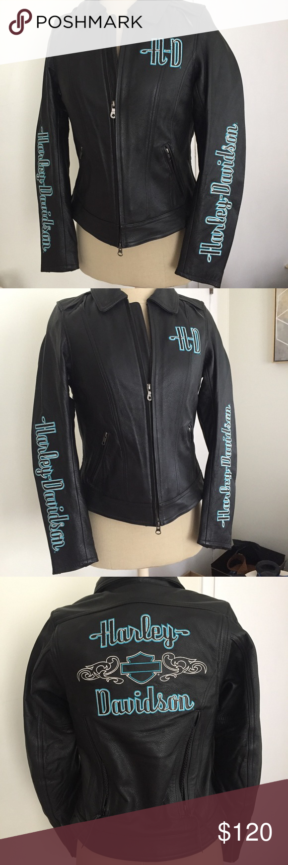 Leather Harley Jacket Zip out quilted vest inside. Vents
