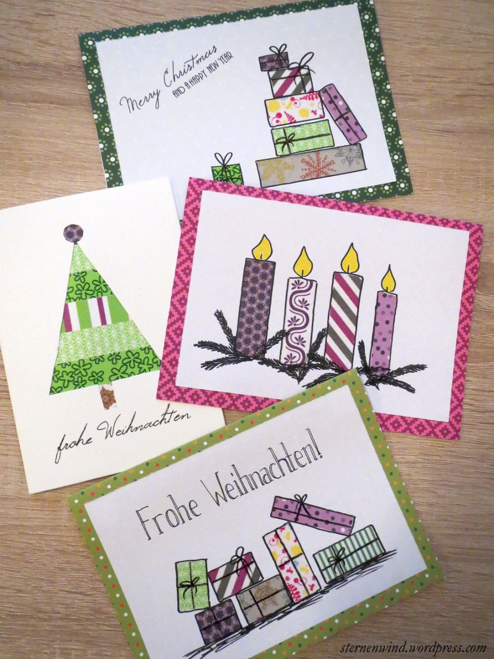 diy weihnachtskarten mit washitape und motivpapier. Black Bedroom Furniture Sets. Home Design Ideas
