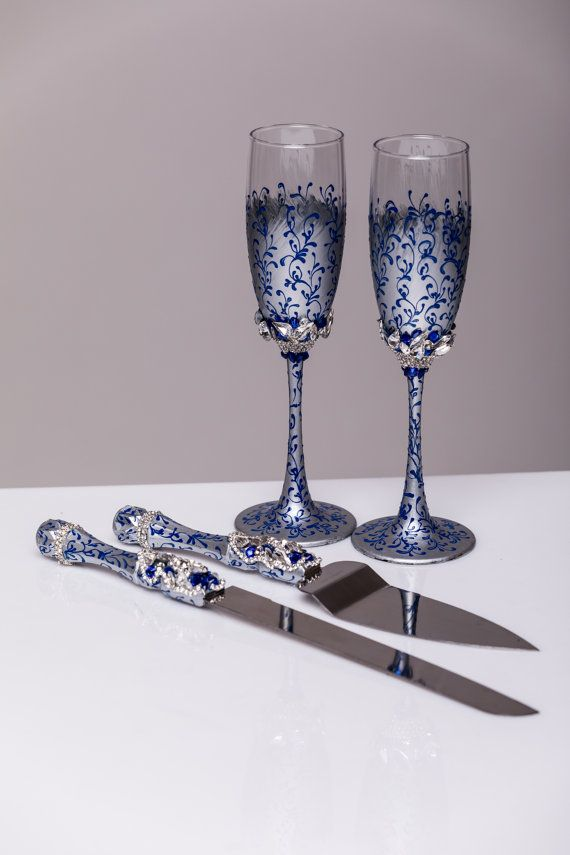 Wedding Gles And Cake Server Set Knife Royal Blue Silver Cutting Toasting