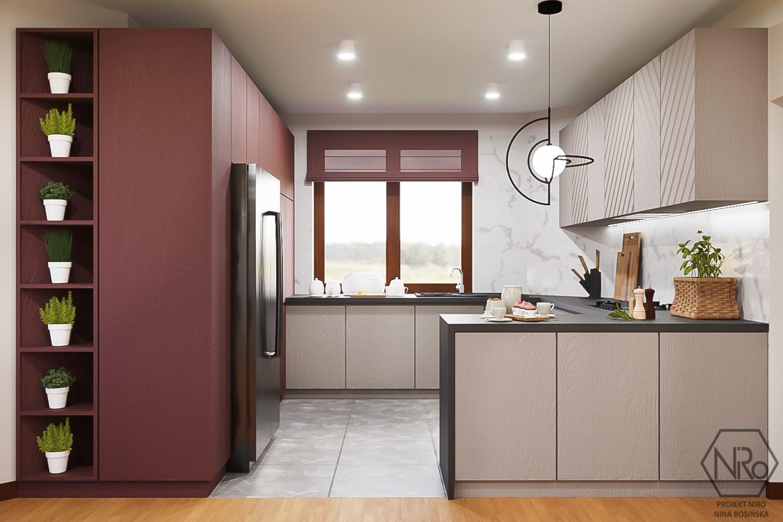 Kuchnia W Odcieniach Cieplych Szarosci I Czerwieni In 2021 Home Decor Room Divider Furniture
