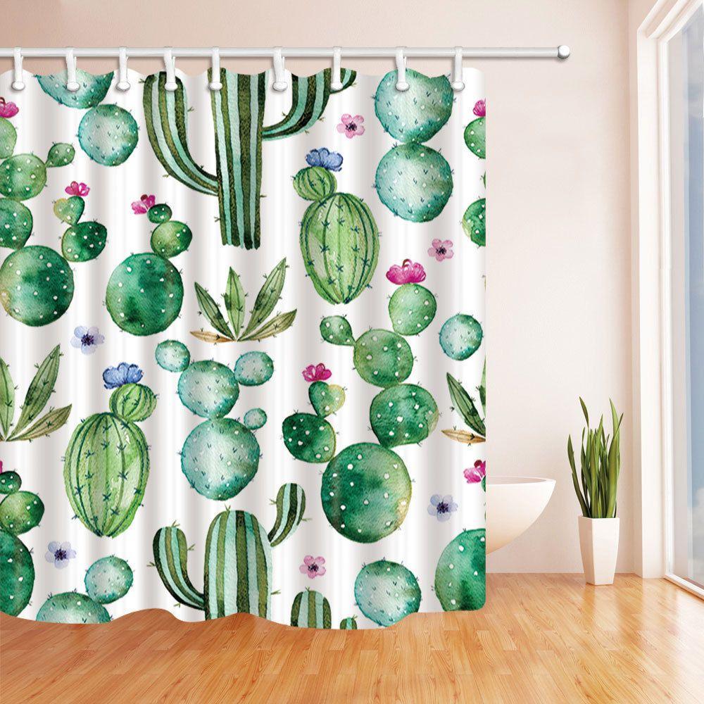 Vintage Shower Curtain Liner Cactus Flowers Print For Bathroom 70