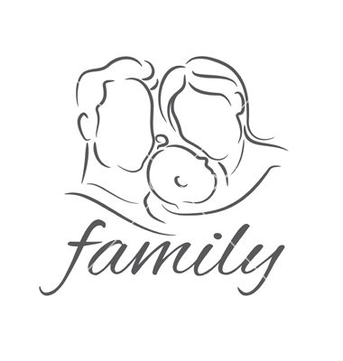 Mother With Baby Linear Silhouette Vector Image On With Images
