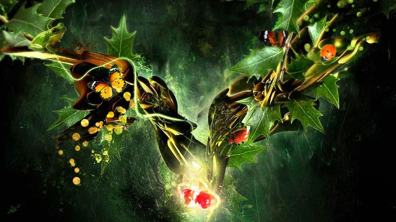 Butterfly Ladybug Frog In A Fantasy World Hd Wallpaper In 2020 Tree Hd Wallpaper Abstract Abstract Wallpaper