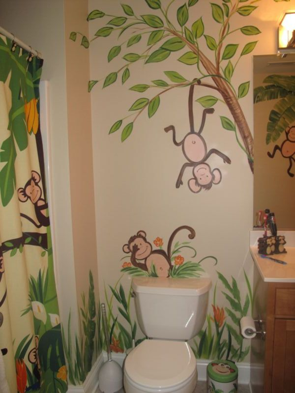 Superbe For Monkey Bathroom Décor Ideas, Many Wall Décor Media Should Be Chosen.  Well, If You Prefer To Install Funny Monkey Character On Your Bathroom Wall  And