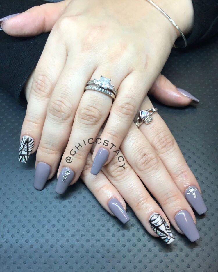 Long Coffin Nails Apres Nails Gelish Polish Nail Design Geometric