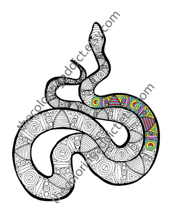 Snake coloring sheet, animal coloring pdf, zentangle adult colouring ...