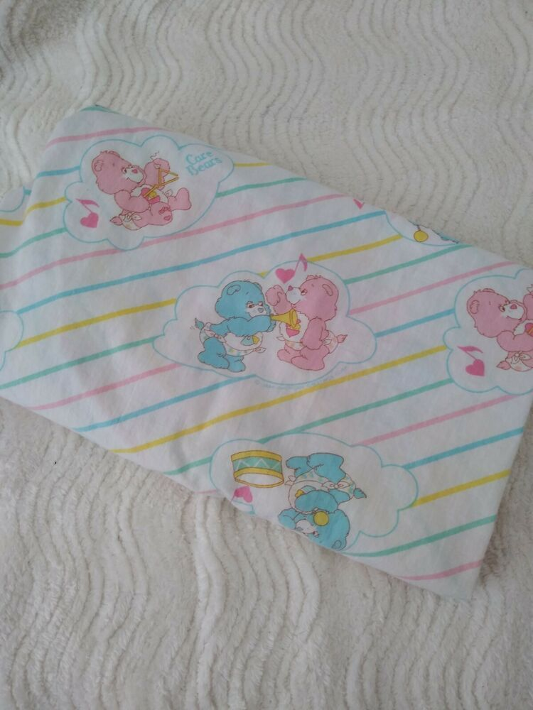 Vtg 80s Care Bears Baby Hugs Tugs Crib Fitted Bed Sheet