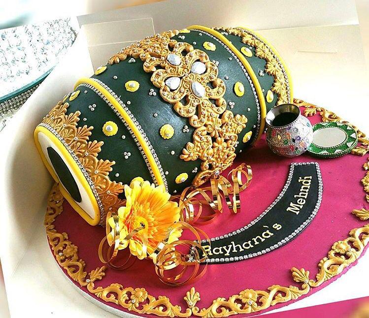 Mehndi Dholki Cake : Dholak cake for indian mehandi ceremony
