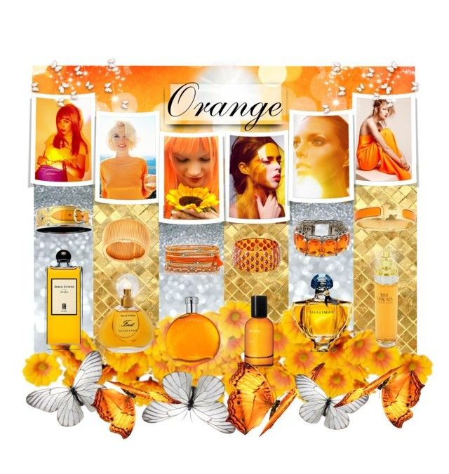 """Orange color in ladies, bracelets and fragrance (Оранжевый цвет в девушках, браслетах и парфюме)"" by kseniz13 ❤ liked on Polyvore featuring beauty, Olsen, Mark Davis, Hermès, Nanni, Serge Lutens, Aesop, Guerlain, Elizabeth Taylor and Van Cleef & Arpels"
