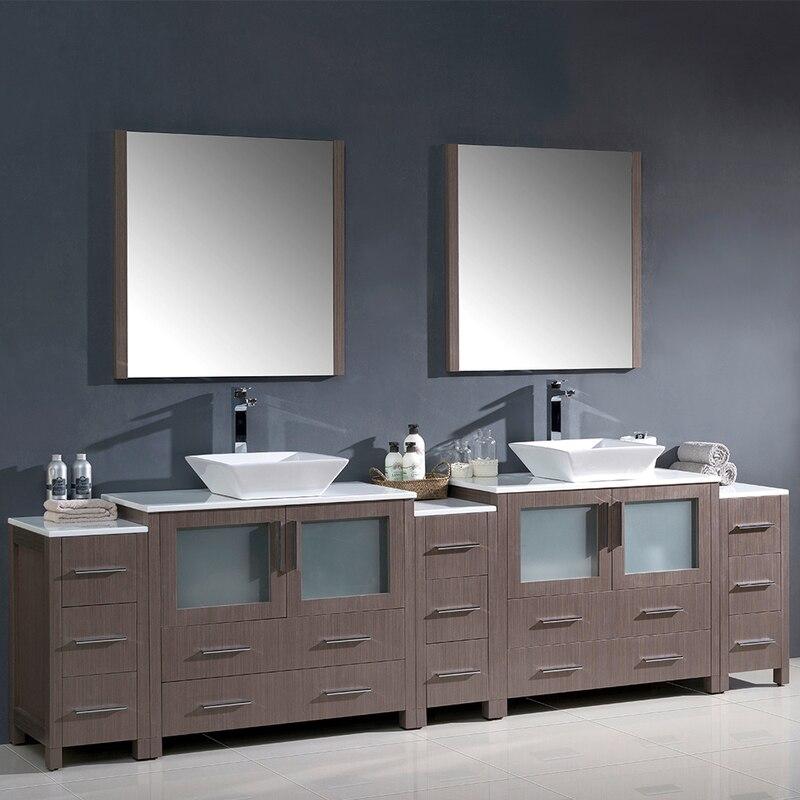Torino 108 Double Sink Bathroom Vanity W 3 Side Cabinets Vessel Sinks Double Sink Bathroom Double Sink Bathroom Vanity Bathroom Vanity