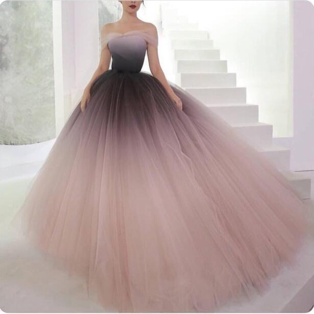 Photo of Gradient Off Shoulder Tulle Elegantes Abendkleid, Pretty Fairy E