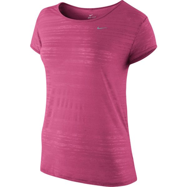 Nike Dri-FIT Touch Breeze Crew Women's Running Shirt (125 BRL) ❤ liked on Polyvore featuring activewear, activewear tops, crew neck shirt, patterned shirts, nike activewear, purple shirt and nike shirts