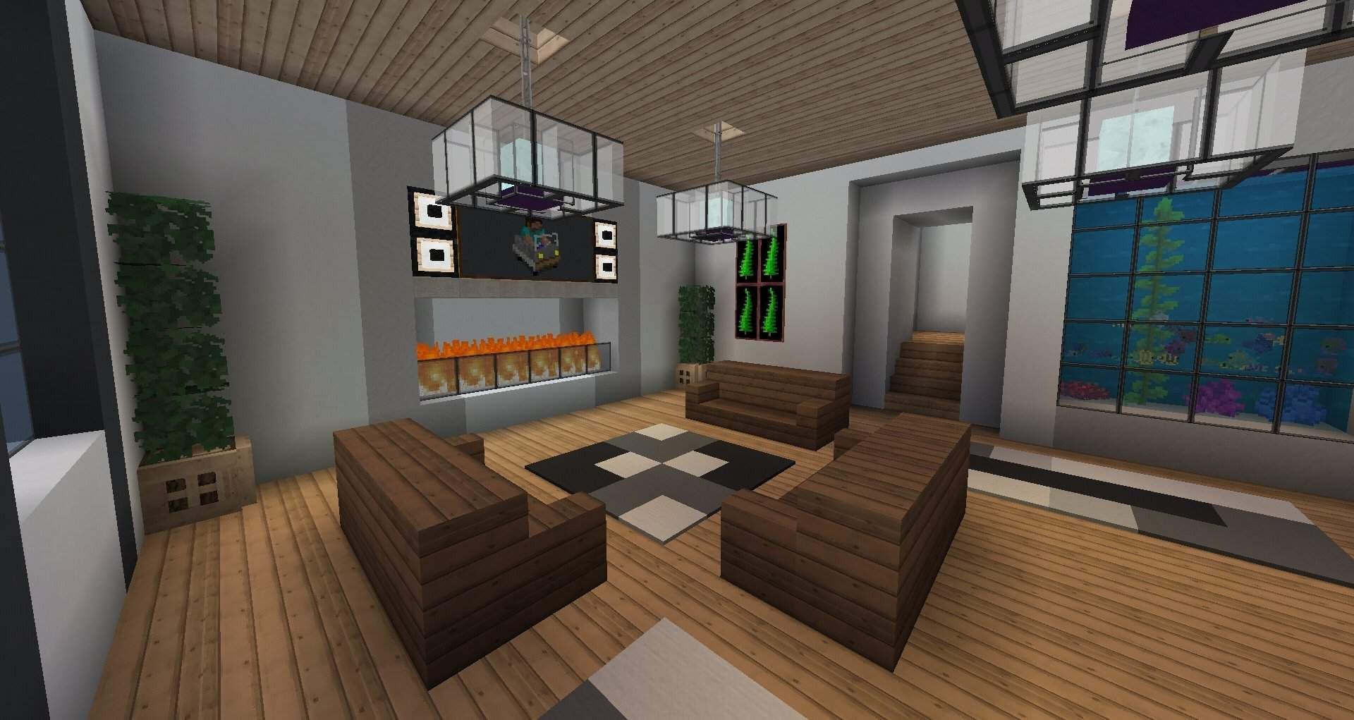 Awesome Minecraft Interior House Ideas And Review In 2020 Living Room In Minecraft Minecraft Interior Design Modern Houses Interior