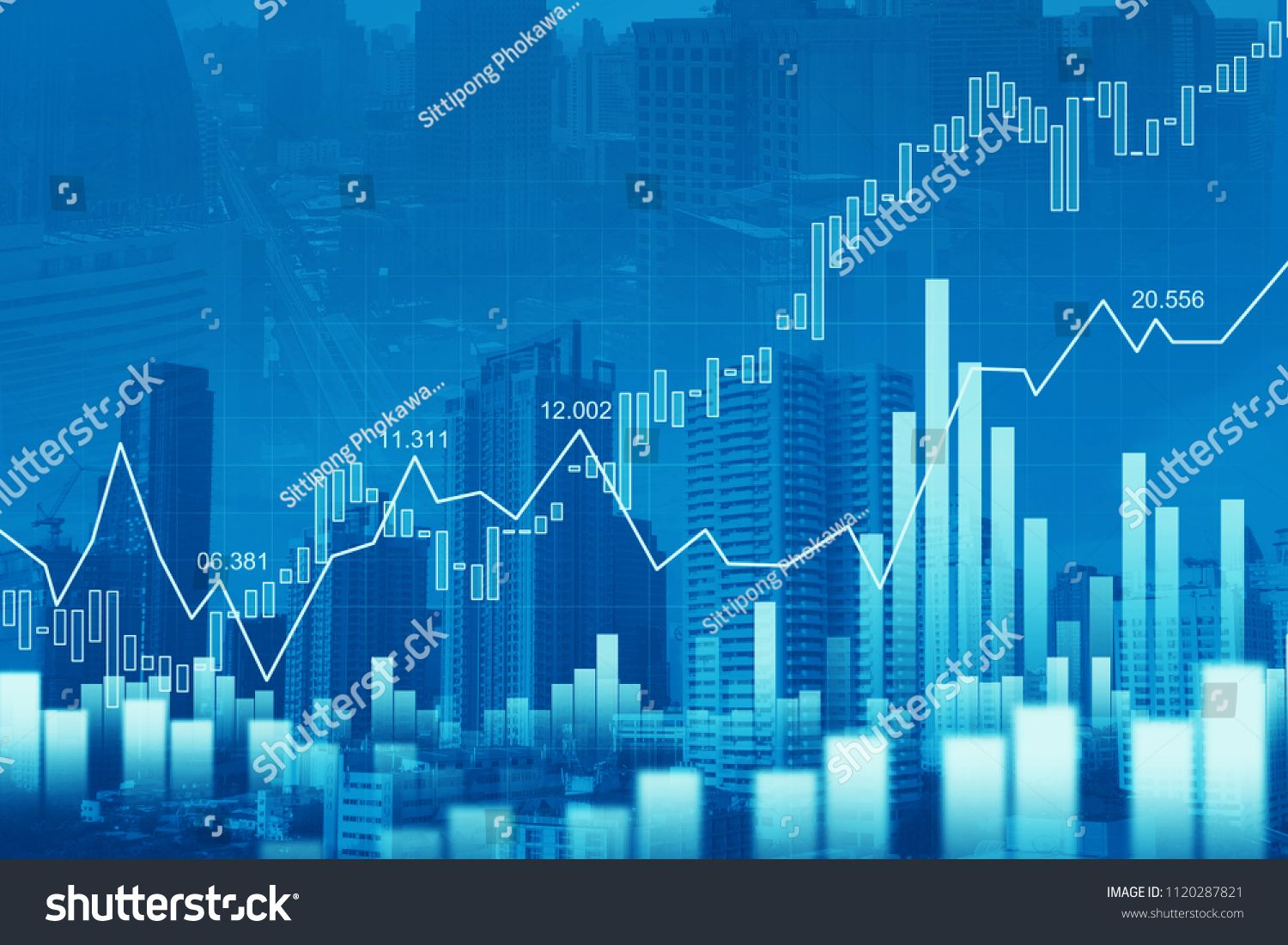 Stock market or forex trading graph in graphic double
