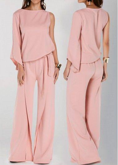 9db5cb84019 Pink Round Neck One Sleeve Wide Leg Jumpsuit
