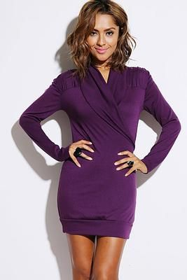 Purple Ruched Shoulders Tunic Dress #fallfashion