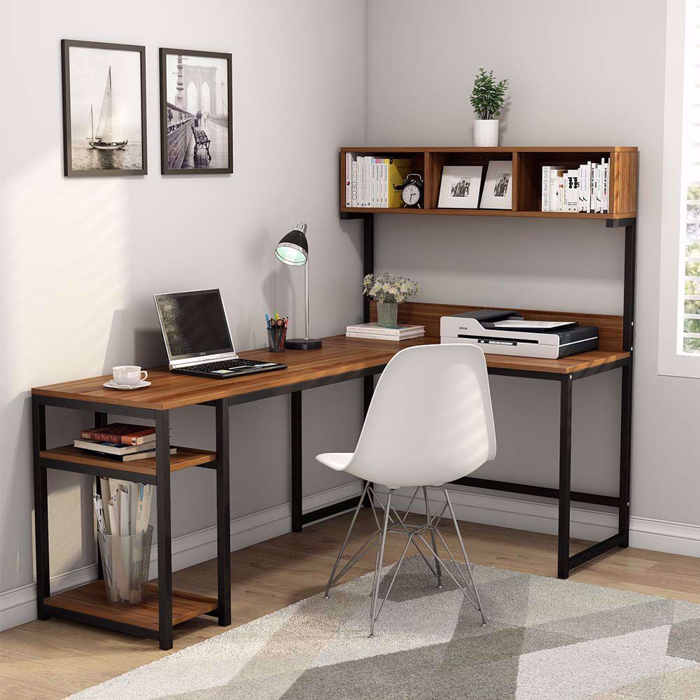 If You Looking For A Large Computer Desk With Plenty Of Storage For An Open Office Or An Awkward Cor Office Desk Designs Desk In Living Room Home Office Design