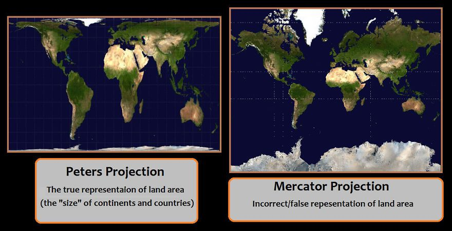 After seeing these 15 maps youll never look at the world the same let me just make this easy the issue is peters accurate vs mercator inaccurate gumiabroncs Image collections
