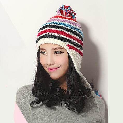 e6f51814 Stripe knit hats for winter wear ear flap hat warm | knit hat with ...
