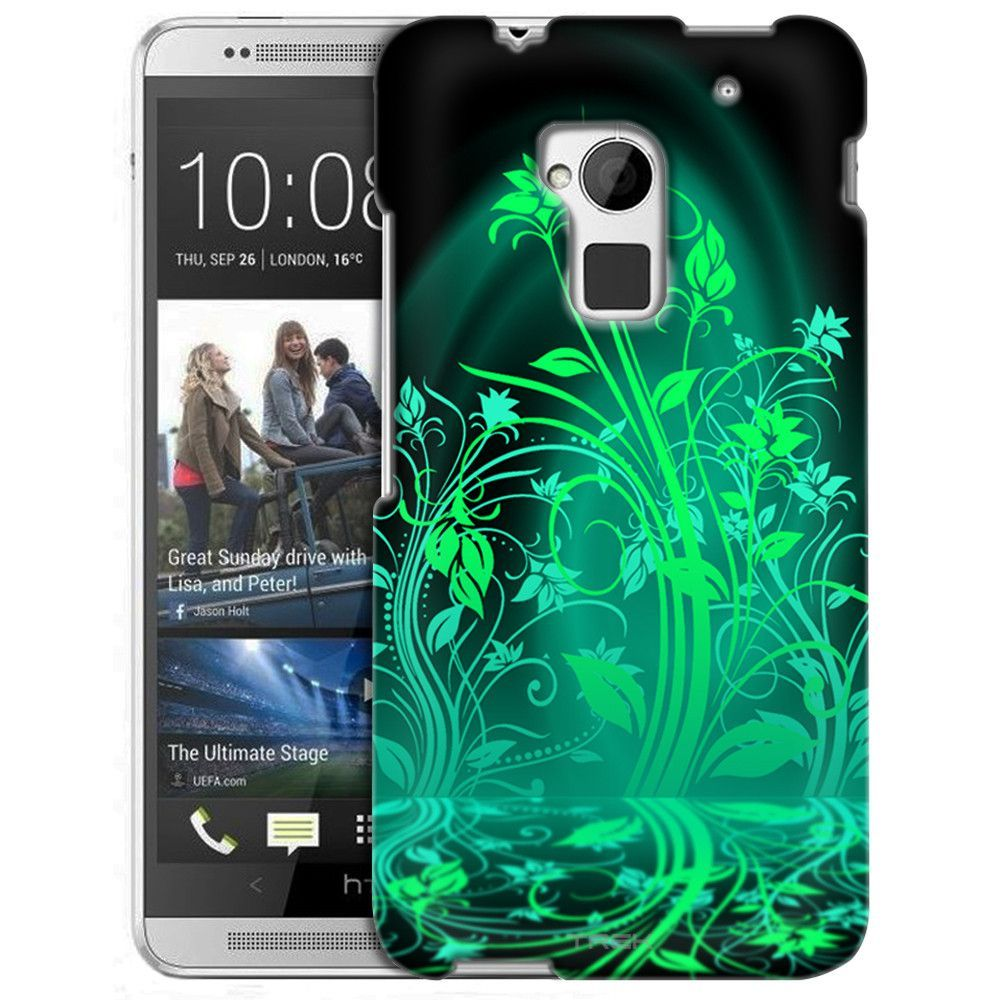 HTC One Max Green Plant Beautiful Shadows on Black Slim Case