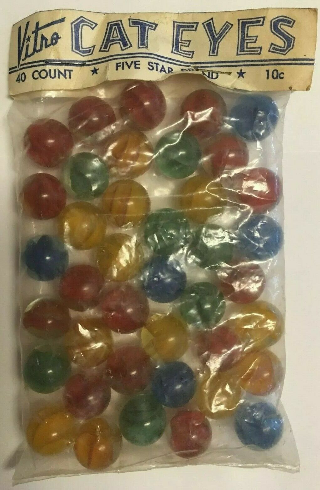 Vintage Vitro Cat Eyes Marbles Hybrid Cat Marble Bag Cats