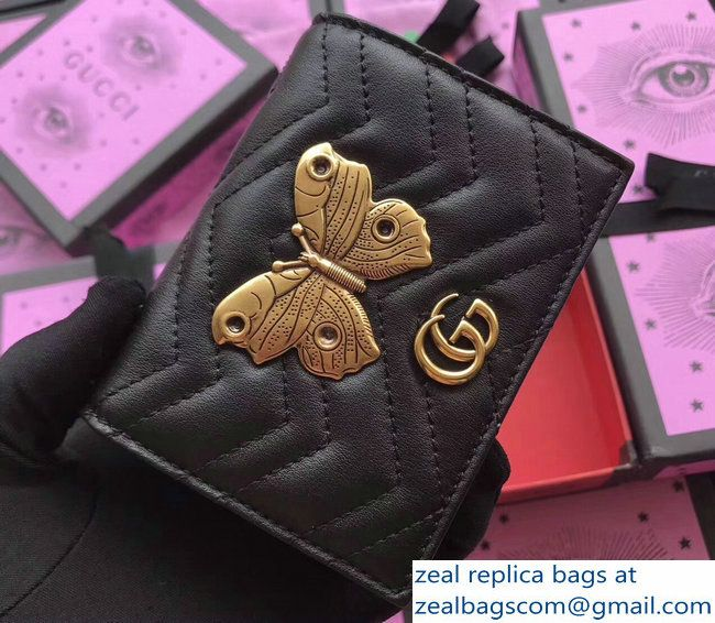 Gucci GG Marmont Metal Animal Insects Studs Card Case 466492 Moths Black  2017 d95dcb078aa