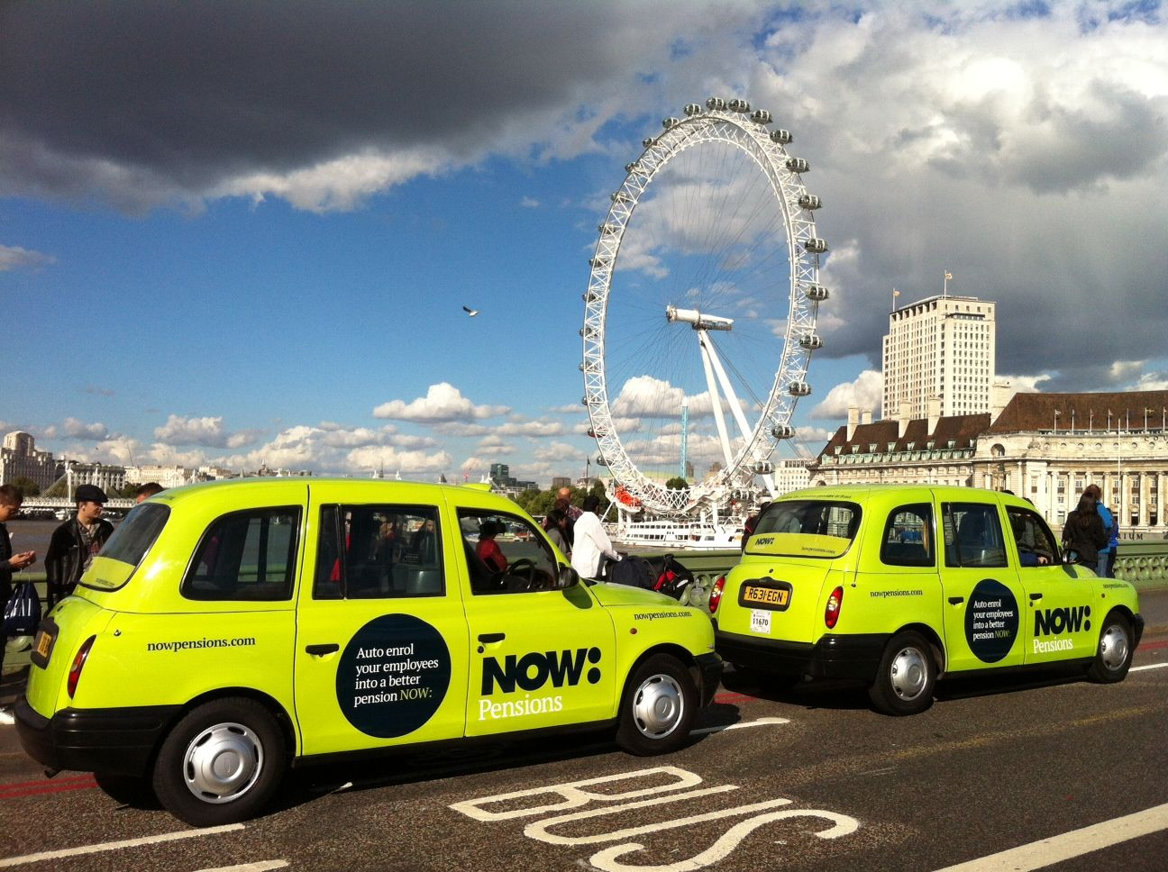 Now Pensions taxi branding
