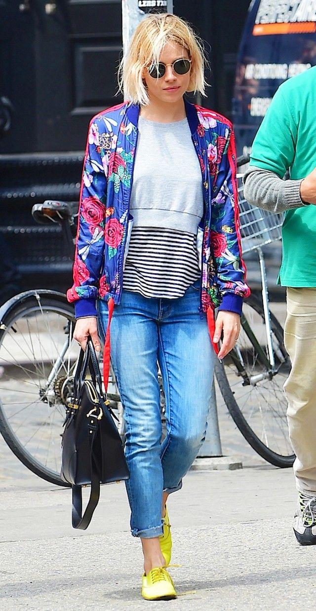 a7499292bd0b9 Sienna Miller  Bomber Jacket + Cropped Sweatshirt + Striped Top