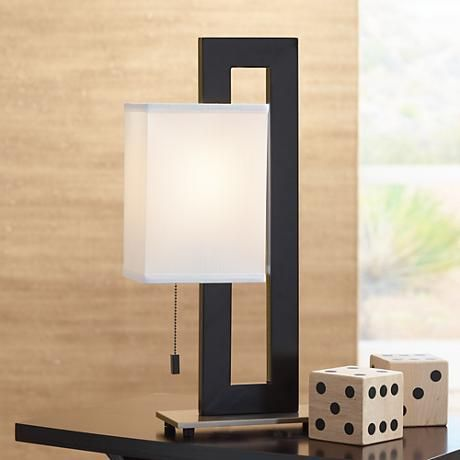 Black and brushed nickel floating square table lamp square black and brushed nickel floating square table lamp mozeypictures Gallery