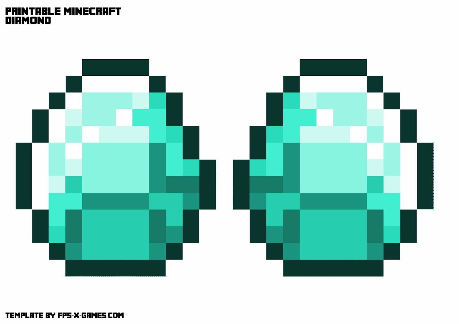 Get Some Minecraft Swag And Create Your Own Printable Minecraft Gold Necklace With The Choice Of Diamond Minecraft Printables Minecraft Images Coloring Pages
