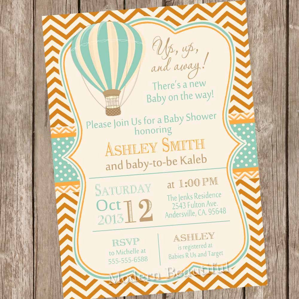 Vintage Hot Air Balloon Baby Shower Invitation Up Up And Away