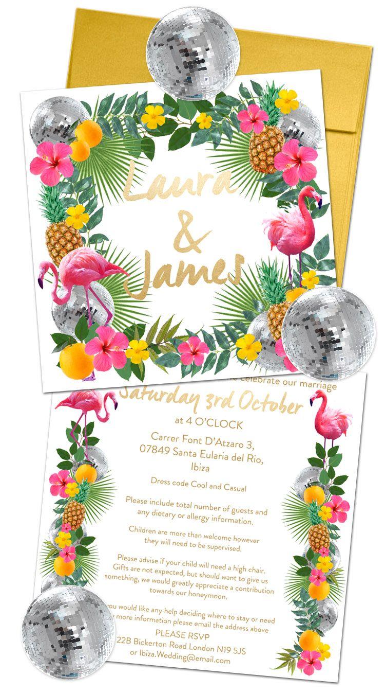 Ibiza wedding invite complete with disco ball stickers, tropical ...